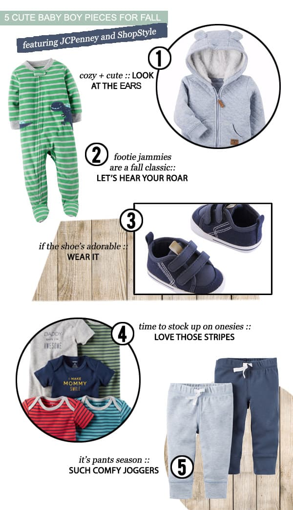 5 Cute Baby Boy Pieces for Fall featuring @JCPenney @carters #ad #SoWorthIt #StorkUpBaby