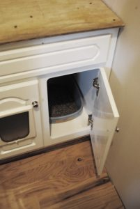 How We Created A Cat Cabinet in Our Laundry Room #cat #DIY #pethacks #homeimprovement
