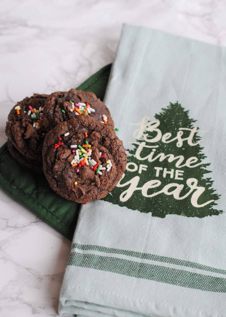 Chunky Christmas Cookies using a Brownie Box Mix #cookiehop #cookieswap #easycookierecipe #holidaycookies #Christmascookies #Christmas #holidays #baking #holidaybaking #HousefulOfCookies