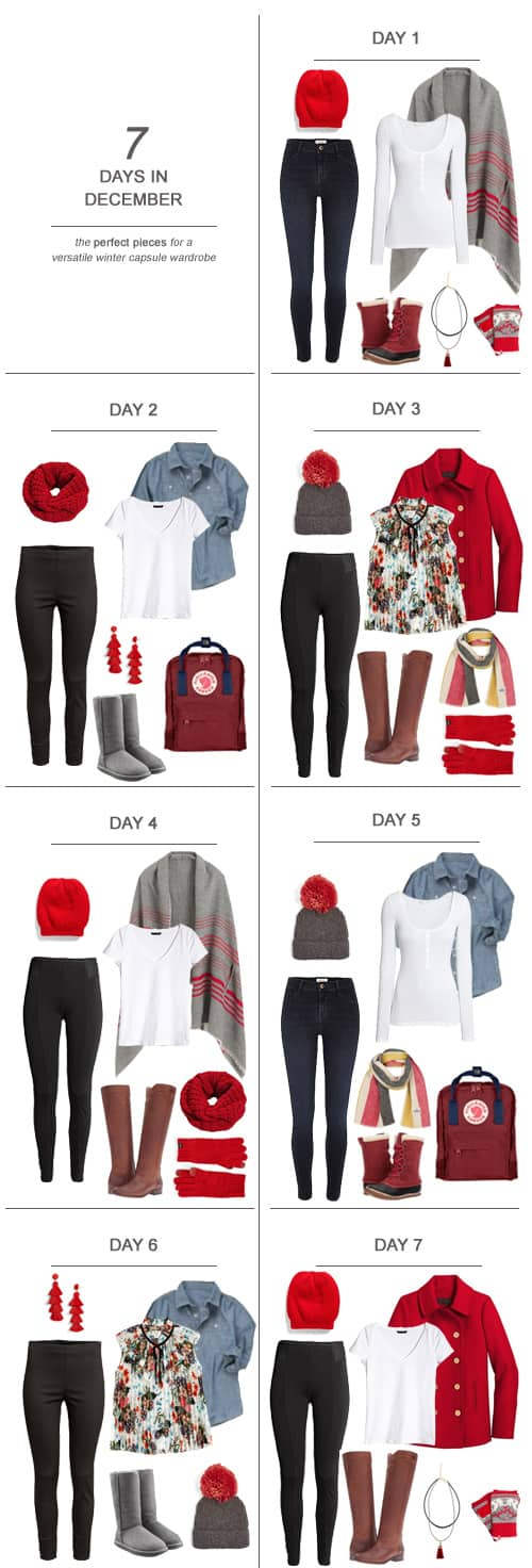 7 Days in December : The Perfect Pieces for a Versatile Winter Capsule Wardrobe #ootd #December #holidays #capsulewardrobe #sahm