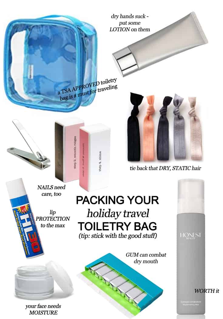Traveling for the holidays? There's a trick to packing your holiday travel toiletry bag - you've got to bring the good stuff. Here's what Texas Mom Blogger, Kiss My Tulle, packs: