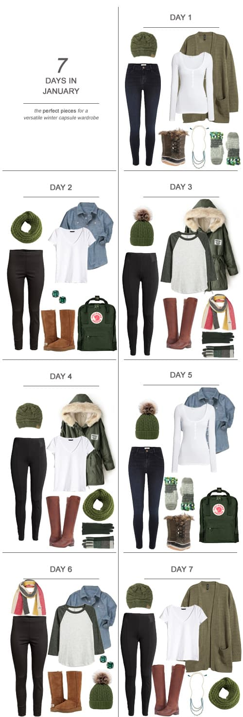 7 Days in January : The Perfect Pieces for a Versatile Winter Capsule Wardrobe #ootd #January #holidays #capsulewardrobe #sahm